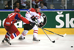Denis Grebeshkov (37) of Russia vs Jonathan Toews (16) of Canada at  ice-hockey game Canada vs Russia at finals of IIHF WC 2008 in Quebec City,  on May 18, 2008, in Colisee Pepsi, Quebec City, Quebec, Canada. Win of Russia 5:4 and Russians are now World Champions 2008. (Photo by Vid Ponikvar / Sportal Images)