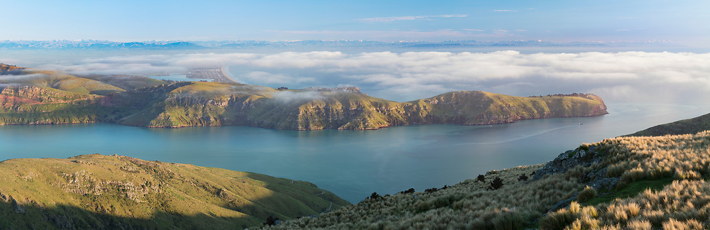 The view from Mt. Evans overlooking Lyttelton Harbour, Godley Heads, and Christchurch