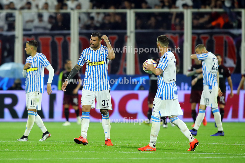 "Foto LaPresse/Filippo Rubin<br /> 26/05/2019 Ferrara (Italia)<br /> Sport Spal - Milan - Campionato di calcio Serie A 2018/2019 - Stadio ""Paolo Mazza""<br /> Nella foto: DELUSIONE SPAL DOPO TERZO GOAL MILAN<br /> <br /> Photo LaPresse/Filippo Rubin<br /> May 26, 2019 Ferrara (Italy)<br /> Sport Soccer<br /> Spal vs Milan - Italian Football Championship League A 2018/2019 - ""Paolo Mazza"" Stadium <br /> In the pic: SPAL DISAPPOINTMENT"