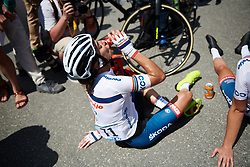 Ashleigh Moolman Pasio (RSA) recovers after La Course by Le Tour de France 2018, a 112.5 km road race from Annecy to Le Grand Bornand, France on July 17, 2018. Photo by Sean Robinson/velofocus.com