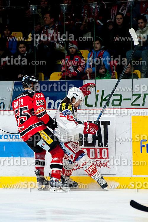 15.03.2015, Ice Rink, Znojmo, CZE, EBEL, HC Orli Znojmo vs EC KAC, 59. Runde, 5. Viertelfinale, im Bild v.l. Martin Baca (HC Orli Znojmo), Patrick Harand (EC KAC) // during the Erste Bank Icehockey League 59th round match, 5th quarterfinal between HC Orli Znojmo and EC KAC at the Ice Rink in Znojmo, Czech Republic on 2015/03/15. EXPA Pictures © 2015, PhotoCredit: EXPA/ Rostislav Pfeffer