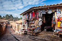 CHINCHERO, PERU - CIRCA OCTOBER 2015:  Gift shop in Chinchero on the Cusco region known as Sacred Valley