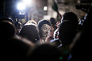 19 May 2014 - Naples, Italy. The Prime Minister Matteo Renzi in Naples, speak to democratic party supporters in a meeting inside the Sanit&agrave; Square, for European elections.<br /> <br /> 19 May 2014 - Naples, Italy. The Prime Minister Matteo Renzi in Naples, speak to democratic party supporters in a meeting inside the Sanit&agrave; Square, for European elections.<br /> <br /> Napoli. Il Presidente del Consiglio Matteo Renzi sul palco di Piazza Sanit&agrave; a Napoli, nel quartiere Sanit&agrave;, tiene un comizio politico in occasione delle prossime elezioni Europee.