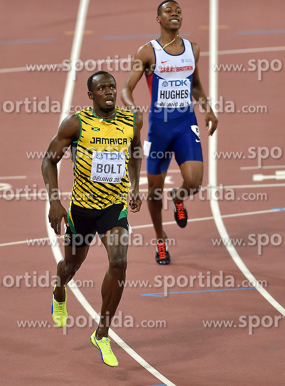 27-08-2015 CHN: IAAF World Championships Athletics day 6, Beijing<br /> 200 m: Usain Bolt JAM winner with time 19.55s and Zharnel Hughes GBR