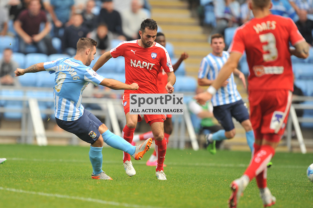 Coventrys Adam Armstrong Fires in Coventrys Goal, Coventry City v Chesterfield, Football League One, Ricoh Arena Coventry Saturday 19th September 2015
