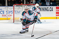 KELOWNA, CANADA - MARCH 4: Kole Lind #16 of the Kelowna Rockets skates against the Tri-City Americans on March 4, 2017 at Prospera Place in Kelowna, British Columbia, Canada.  (Photo by Marissa Baecker/Shoot the Breeze)  *** Local Caption ***
