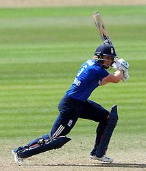 England's Heather Knight cuts the ball. - Photo mandatory by-line: Harry Trump/JMP - Mobile: 07966 386802 - 21/07/15 - SPORT - CRICKET - Women's Ashes - Royal London ODI - England Women v Australia Women - The County Ground, Taunton, England.