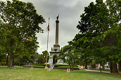 McLean County Illinois monuments and landmarks<br /> <br /> In the north east corner of Miller Park stands the Memorial for the remembrance of valorous deeds by local men who participated in the War of the Rebellion (Civil War).<br /> <br /> High Dynamic Range (HDR) processing applied.