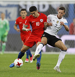 July 3, 2017 - Saint Petersburg, Russia - Pablo Hernandez (L) of Chile national team and Julian Draxler of Germany national team vie for the ball during FIFA Confederations Cup Russia 2017 final match between Chile and Germany at Saint Petersburg Stadium on July 2, 2017 in Saint Petersburg, Russia. (Credit Image: © Mike Kireev/NurPhoto via ZUMA Press)