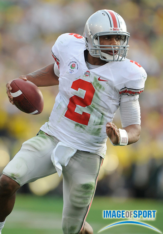 Jan 1, 2010; Pasadena, CA, USA; Ohio State Buckeyes quarterback Terrelle Pryor (2) scrambles in the second quarter of the 2010 Rose Bowl against the Oregon Ducks at the Rose Bowl.