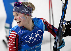February 17, 2018 - Pyeongchang, KOR - Jessie Diggins at the end of the Women's 4x5km Relay at Alpensia Cross-Country Centre during the Pyeongchang Winter Olympics on Saturday, Feb. 17, 2018. The USA finished in fifth place. (Credit Image: © Carlos Gonzalez/TNS via ZUMA Wire)