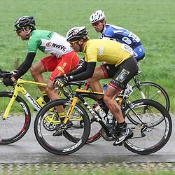 Reinhardt Janse van Rensburg returns in the peloton after a crash