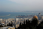 Israel Haifa, a view from mount Carmel the bay in the background with the golden dome of the Bahai shrine in the centre