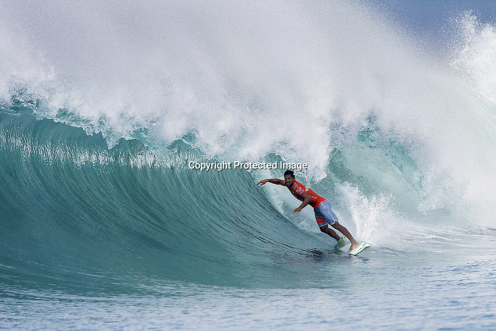 Michel Bourez of Tahiti (pictured) posted the best result of his career, finishing runner-up at the Oakley Pro when he was defeated by Joel Parkinson (AUS) in the dying seconds on Thursday June 27, 2013. Photo: Kirstin Scholtz/ASP