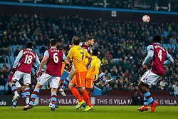 Rudy Gestede of Aston Villa heads clear - Mandatory byline: Rogan Thomson/JMP - 19/01/2016 - FOOTBALL - Villa Park Stadium - Birmingham, England - Aston Villa v Wycombe Wanderers - FA Cup Third Round Replay.