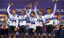 Italy's Elia Viviani, Liam Bertazzo, Francesco Lamon, Michele Scartezzini and Filippo Ganna celebrate taking gold medal during day two of the 2018 European Championships at the Sir Chris Hoy Velodrome, Glasgow.