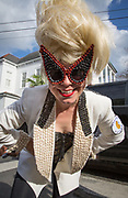 Phoebe Autumn pays tribute to the artwork of Bunny Matthews with her Vic & Nat'ly costume made from beans in the Red Beans Parade on Lundi Gras 2017 in Faubourg Marigny