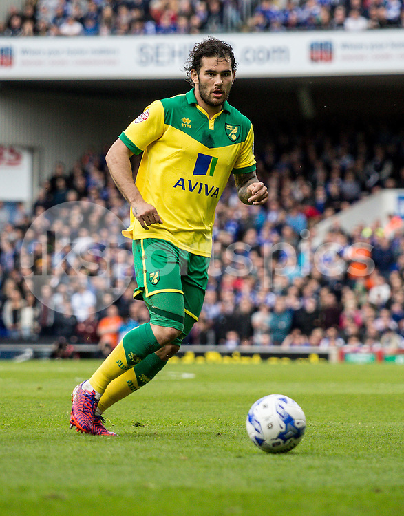 Bradley Johnson of Norwich City during the Sky Bet Championship Play Off 1st Leg match between Ipswich Town and Norwich City at Portman Road, Ipswich, England on 9 May 2015. Photo by Liam McAvoy.