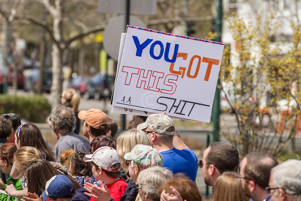 2014 Boston Marathon: spectator with sign