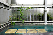 yellow security tiles for the blind at the end beginning of stairs Japan