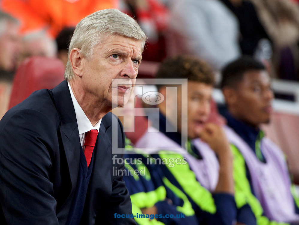 Manager Arsene Wenger of Arsenal during the UEFA Champions League match at the Emirates Stadium, London<br /> Picture by Alan Stanford/Focus Images Ltd +44 7915 056117<br /> 28/09/2016