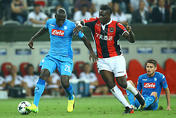 August 22, 2017 - Nice, France - Kalidou Koulibaly of Napoli and Mario Balotelli of Nice  during the UEFA Champions League Qualifying Play-Offs round, second leg match, between OGC Nice and SSC Napoli at Allianz Riviera Stadium on August 22, 2017 in Nice, France. (Credit Image: © Matteo Ciambelli/NurPhoto via ZUMA Press)