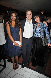 Left to right, DR LUCA & SHABNAN RUSSO and CHERYL HOWARD at a party following a gala evening of Daniela Lavender's one woman show 'A Woman Alone'  The party was held at Blakes Hotel, Roland Gardens, London SW7 on 7th April 2011.