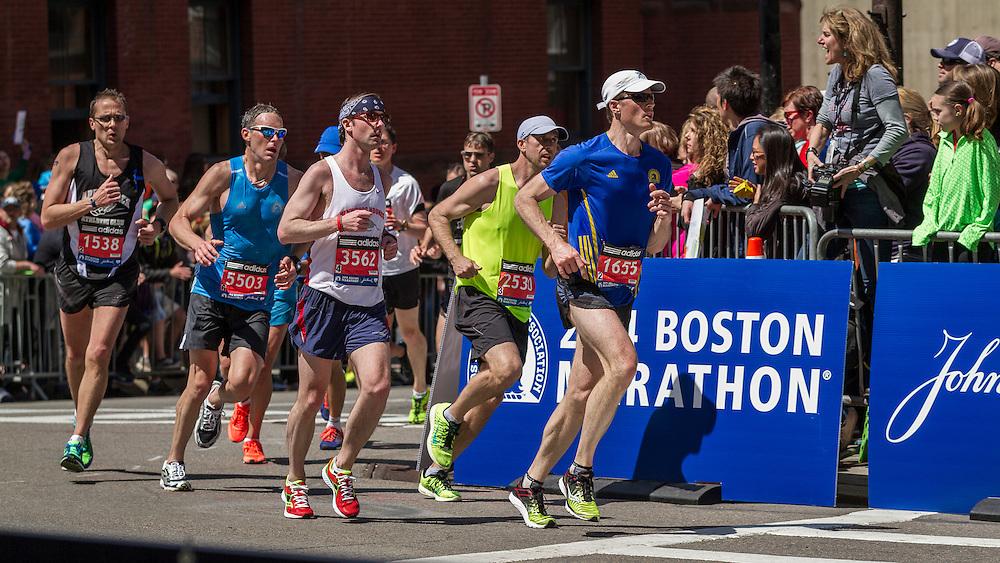 2014 Boston Marathon: runners turn onto Boylston Street heading for finish line