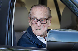 © Licensed to London News Pictures. 11/05/2018. Windsor, UK. The Duke of Edinburgh is seen in a car at the 75th Royal Windsor Horse Show . This is the first time the Duke has been seen since his hip operation last month. The five day event takes place in the grounds of Windsor Castle. Photo credit: Peter Macdiarmid/LNP