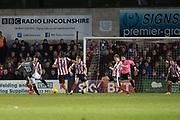 Coventry City Forward Duckens Nazon shoots and scores a goal 1-2 during the EFL Sky Bet League 2 match between Lincoln City and Coventry City at Sincil Bank, Lincoln, United Kingdom on 18 November 2017. Photo by Craig Zadoroznyj.
