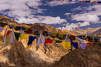 Prayer flags, Pangong Lake Road, Ladakh, Jammu and Kashmir State, India.