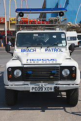 Beach patrol rescue vehicle at Blackpool
