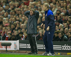 LIVERPOOL, ENGLAND - Tuesday, March 13, 2012: Liverpool's manager Kenny Dalglish looks dejected during the Premiership match against Everton at Anfield. (Pic by David Rawcliffe/Propaganda)