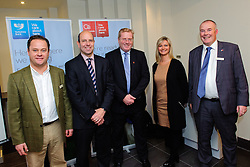 Pictured is guest speaker John Giles, divisional director at Promar International, centre, with some of the Clydesdale and Yorkshire Bank colleagues at the event, from left, Jonathan Spencer, Oliver Maxey, Katy Simpson and Michael Pickles<br /> <br /> Clydesdale and Yorkshire Bank food and the world dinner held at Lincoln Hotel as part of the bank's business week.  Promar International divisional director John Giles was the guest speaker at the event.<br /> <br /> Date: November 12, 2015<br /> Picture: Chris Vaughan/Chris Vaughan Photography