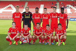 LIVERPOOL, ENGLAND - Tuesday, September 16, 2014: Liverpool's players line up for a team group photograph before the UEFA Youth League Group B match against PFC Ludogorets Razgrad at Langtree Park. Back row L-R: Daniel Cleary, goalkeeper Andy Firth, Jerome Sinclair, Alex O'Hanlon, Sam Hart, Sheyi Ojo. Front row L-R: Ryan Kent, captain Jordan Rossiter, Tom Brewitt, Cameron Brannagan, Joe Maguire. (Pic by David Rawcliffe/Propaganda)