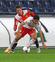 11.12.2011, Stadion, Salzburg, Red Bull Arena, AUT, 1. FBL, RB Salzburg vs FC Trenkwalder Admira Wacker, im Bild Gernot Plassnegger, (Trenkwalder Admira, #4) vs Gonzalo Zarate, (Red Bull Salzburg, #11)  during the Austrian Bundesliga Match, RB Salzburg against FC Trenkwalder Admira Wacker, Stadium, Red Bull Arena near Salzburg, Austria on 2011-12-11, EXPA Pictures © 2011, PhotoCredit: EXPA/ S. Woldron