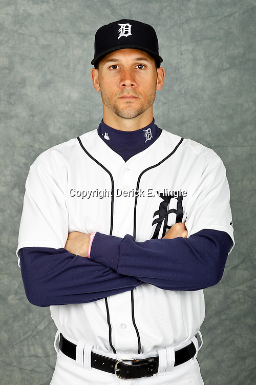 February 28, 2012; Lakeland, FL, USA; Detroit Tigers relief pitcher Chris Bootcheck (68) poses for photo day in the rec room at the Detroit Tigers Headquarters.  Mandatory Credit: Derick E. Hingle-US PRESSWIRE