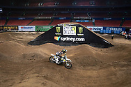 SYDNEY, NSW - NOVEMBER 09: AMA Supercross world champion Jason Anderson (21) during the 2018 AUS-X Open Supercross media day at Qudos Bank Arena in Sydney, Australia on November 09, 2018. (Photo by Speed Media/Icon Sportswire)