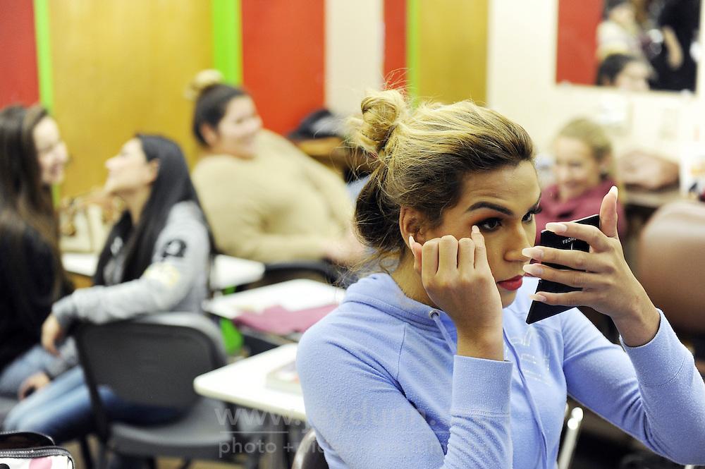 Angie Esteban in her cosmetology Regional Occupational Program (ROP) class in Salinas.