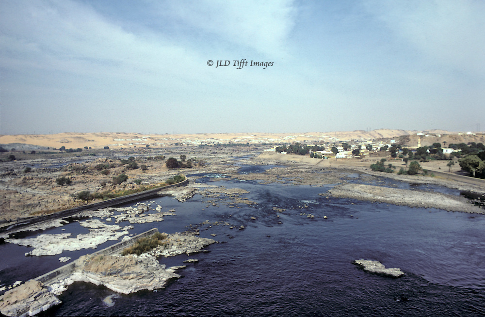 First cataract of the Nile from top of the old Aswan Dam, replaced in the 1960s by the Russian-built present dam.
