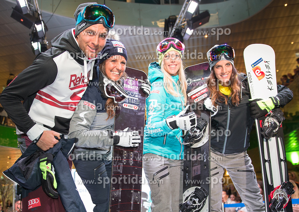 09.10.2015, Europapark, Salzburg, AUT, Praesentation der OeSV Winterkollektion, ??, im Bild v.l. Benjamin Karl, Claudia Riegler, Marion Kreiner, Julia Dujmovits // during Fashion Show of the Presentation of OeSV winter collection of Austrian Ski Federation OeSV at the Europapark in Salzburg, Austria on 2015/10/09. EXPA Pictures © 2015, PhotoCredit: EXPA/ Johann Groder