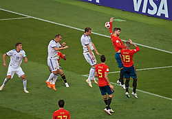 MOSCOW, RUSSIA - Sunday, July 1, 2018: Spain's Gerard Pique handles the ball and a penalty is awarded to Russia during the FIFA World Cup Russia 2018 Round of 16 match between Spain and Russia at the Luzhniki Stadium. (Pic by David Rawcliffe/Propaganda)