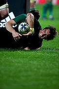 Sam Whitelock charging for the line for his second try during the New Zealand All Blacks v Ireland rugby Internatioanl Test at Yarrow Stadium in New Plymouth, New Zealand. Saturday 12 June 2010.