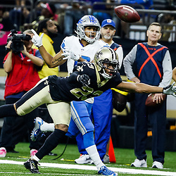 Oct 15, 2017; New Orleans, LA, USA; New Orleans Saints cornerback Marshon Lattimore (23) breaks up a pass to Detroit Lions wide receiver T.J. Jones (13) during the first half of a game at the Mercedes-Benz Superdome. Mandatory Credit: Derick E. Hingle-USA TODAY Sports