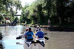 UK ENGLAND LEICESTER 30JUN15 - Volunteers in a bellboat clear rubbish from the river Soar at Leicester city.<br /> <br /> jre/Photo by Jiri Rezac / WWF UK<br /> <br /> © Jiri Rezac 2015