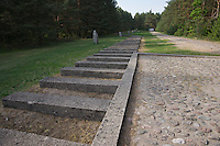 "Stones marking the former railroad tracks and ""station"" platform in Treblinka. In fact there was no station just an extermination camp."
