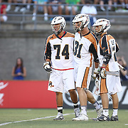 Members of the Rochester Rattlers celebrate a goal during the game at Harvard Stadium on August 9, 2014 in Boston, Massachusetts. (Photo by Elan Kawesch)