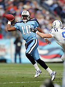 NASHVILLE, TN - DECEMBER 3:  Rookie quarterback Vince Young #10 of the Tennessee Titans unloads a pass while completing 15 of 25 passes for 163 yards and two touchdowns to go with his 78 yards rushing against the Indianapolis Colts at LP Field on December 3, 2006 in Nashville, Tennessee. The Titans defeated the Colts 20-17. ©Paul Anthony Spinelli *** Local Caption *** Vince Young
