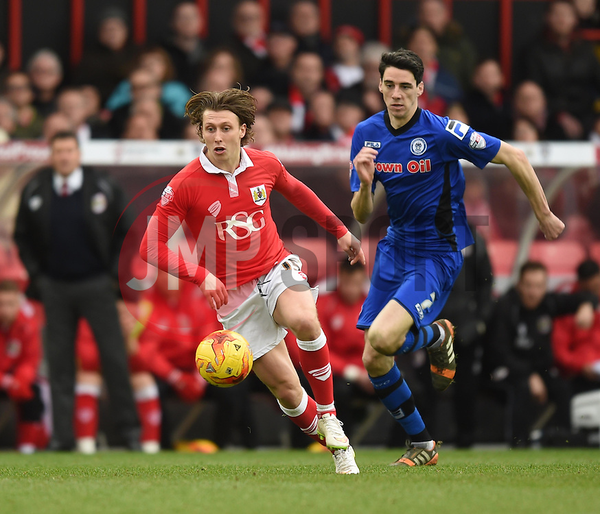 Bristol City's Luke Freeman in action during the Sky Bet League One match between Bristol City and Rochdale at Ashton Gate on 28 February 2015 in Bristol, England - Photo mandatory by-line: Paul Knight/JMP - Mobile: 07966 386802 - 28/02/2015 - SPORT - Football - Bristol - Ashton Gate Stadium - Bristol City v Rochdale - Sky Bet League One