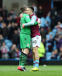 Aston Villa's Shay Given congratulates Aston Villa's Jack Grealish  - Photo mandatory by-line: Joe Meredith/JMP - Mobile: 07966 386802 - 09/05/2015 - SPORT - Football - Birmingham - Villa Park - Aston Villa v West Ham United - Barclays Premier League